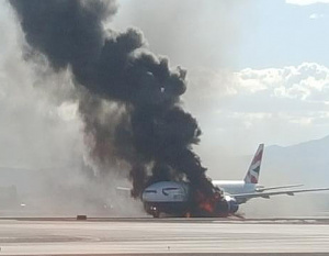 VIDEO:British Airways plane erupts in flames taking off