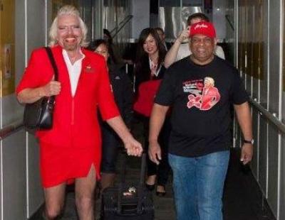 """VIDEO: Sir Richard Branson works as an """"air hostess"""""""