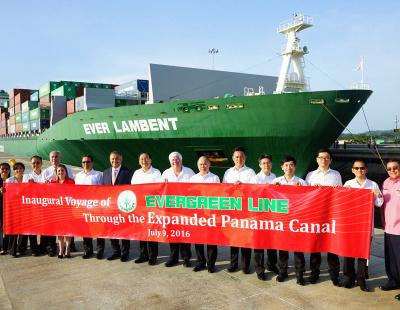 Evergreen's Ever Lambent transits new Panama Canal