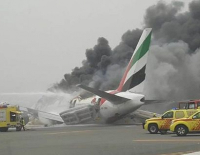 Emirates plane bursts in flames in Dubai crash landing