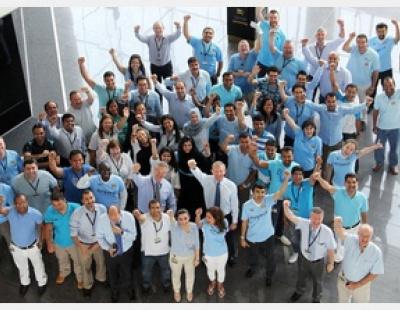 Etihad staff celebrate Manchester City title win