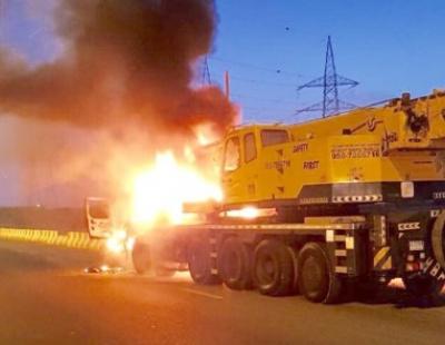 BIG PIC: Sharjah traffic chaos as truck bursts into flames
