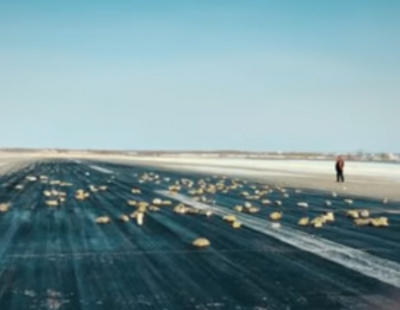 VIDEO: Gold rains down on Russian runway