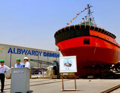 Saqr Port's new Damen ASD Tug 2913 launched for new deep-water bulk terminal
