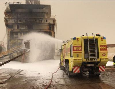 Fire tears through ship in Abu Dhabi shipyard, investigation underway
