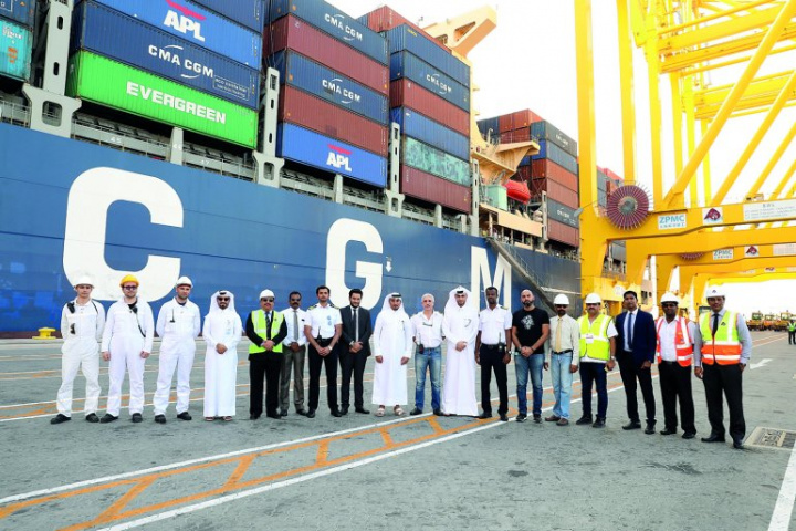 Officials from Hamad Port and CMA CGM mark the first direct service from the port.