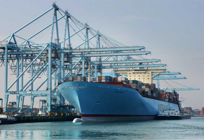 A Maersk vessel docked at Rotterdam, APM Terminals' flagship facility. Courtesy of AFP/Getty.