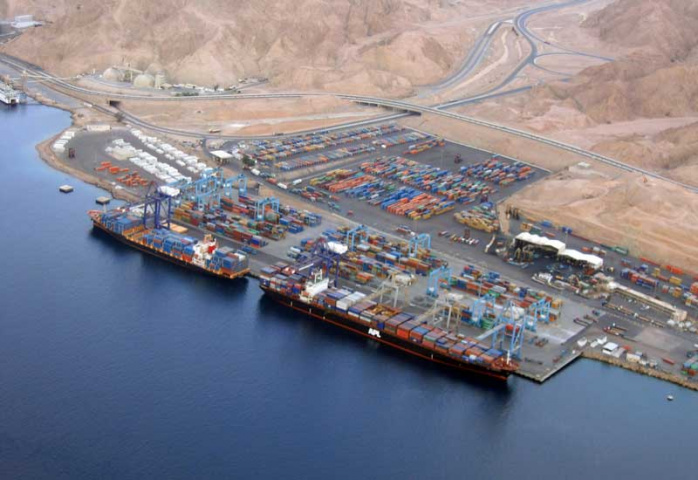 An overhead view of the current Aqaba Container Terminal.