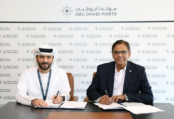The new agreement was signed by Captain Mohamed Juma Al Shamisi, Chief Executive Officer of Abu Dhabi Ports and Iqbal Hamzah, Chief Executive Officer of Agthia Group at Abu Dhabi Ports headquarters.