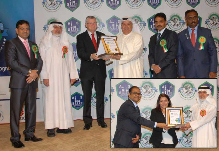 Musaed Al Hawli from Agility receiving the ASSE HSE Gold Award. Inset: Nita Bhatkar from Agility receiving the Special Award for CSR.