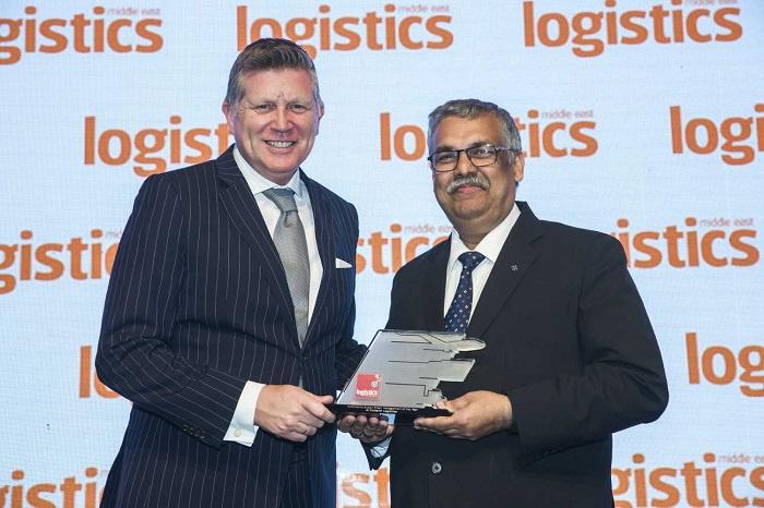 Raman Kumar, managing director, Al-Futtaim Logistics, collects the award.