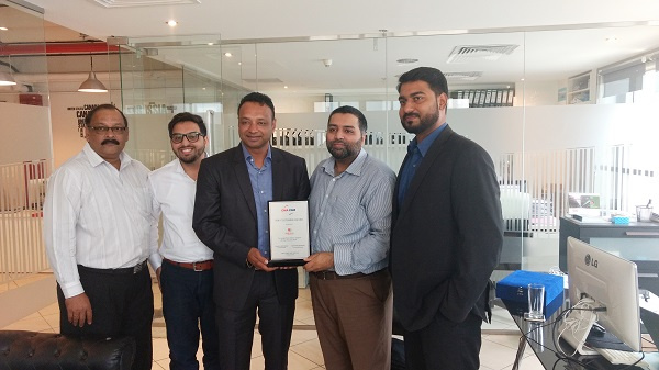 Santosh Devasper, CMA CGM commercial manager and Manoj Kumar CMA CGM export trade manager and Pradeep Vallath, deputy manager VIP Desk handed over the award to Kash Rafiq, director Al Sharqi Group & Shipping.