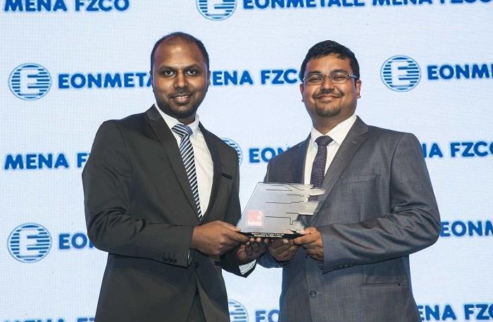 Raihan Hussain, sales manager, AlMajdouie De Rijke Logistics collects the award.