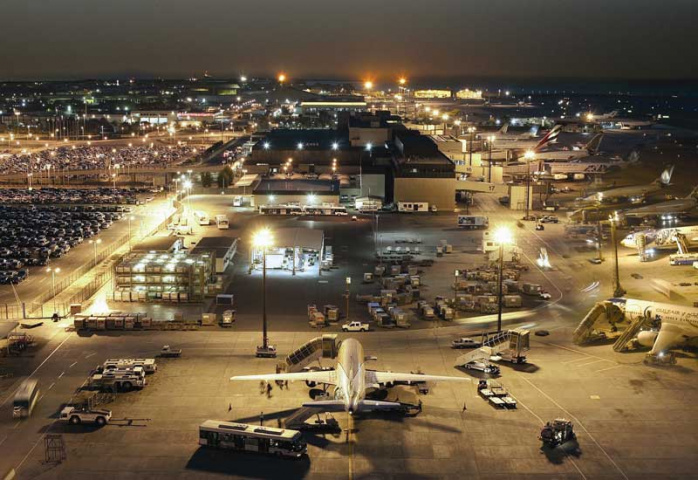 A night shot of Bahrain International Airport.