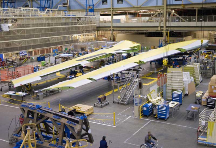 The completed B747-8F wings at Boeing's factory in Everett.
