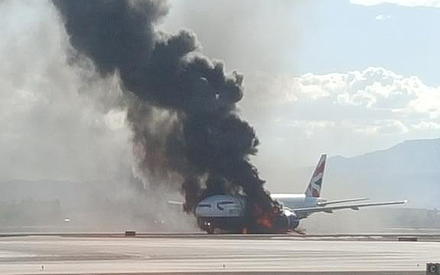 """British Airways Flight BA2276 bursts into flames in Las Vegas after suffering what the pilot described as a """"catastrophic failure"""" of the left engine."""