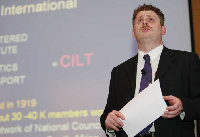 CILT regional director Alex Borg talks to attendees at the evening event.