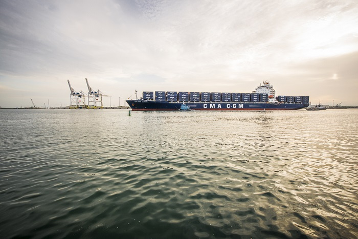 CMA CGM Jamaica enters Port Canaveral as part of the container terminal opening
