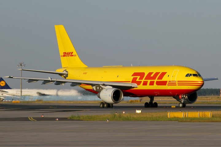 Did a DHL plane end up with its nose sticking up on April Fool's day?