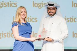 DP World UAE Region commercial account manager Esam Ahmed received the Outstanding Achievement Award from Logistics Middle East editor Sarah Jacotine.