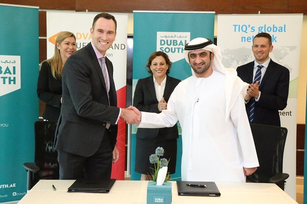 The signing was witnessed by Ahmed Al Ansari, Acting CEO, Dubai South and Michael McGee, CEO, Transit Australia Group.