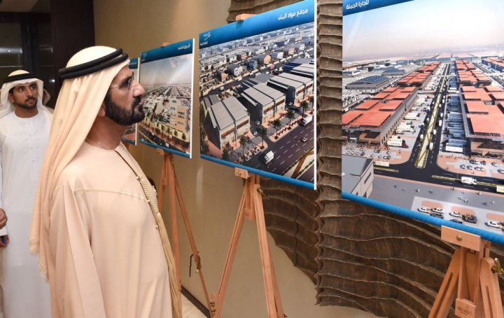 HH Sheikh Mohammed Bin Rashid Al Maktoum, Vice President and Prime Minister of the UAE, and Ruler of Dubai inspects plans for the Wholesale City in Dubai (file photo).