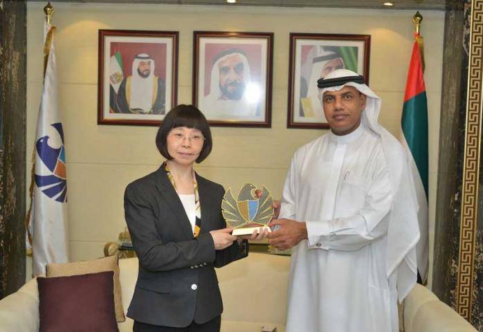 Ahmed Mahboob Musabih receiving the Chinese Consul General in Dubai, Li Lingbing