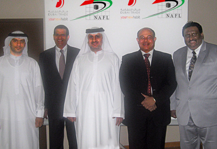 Shown in photo are (left to right) Shahab Al Jassmi,  Senior Manager, Dubai Trade; David Phillips, NAFL Executive Board Member and CEO of Freight Syst