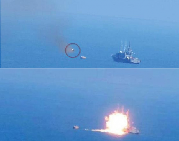 An Egyptian naval vessel was engulfed in flames following an attack by ISIS, but reports of casualties are conflicted.