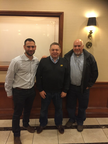 Electromatic's Andrew Kaner (left) and Brett Linzer (right) with Straightpoint director David Ayling in New York