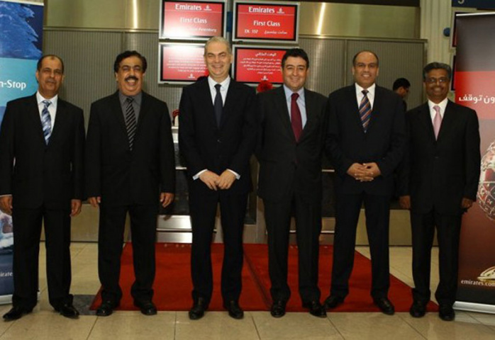 Emirates officials and special guests who boarded the inaugural flight to St. Petersburg.