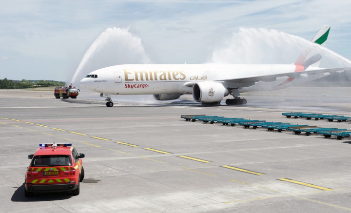 On arrival at Luxembourg, the freighter was welcomed with a traditional water cannon salute.