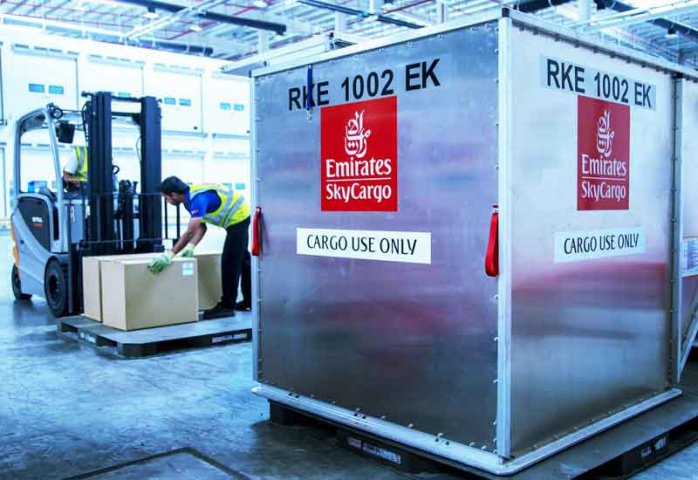 Exports carried by Emirates SkyCargo from Hong Kong to India include pharmaceutical raw materials, electronics and machinery