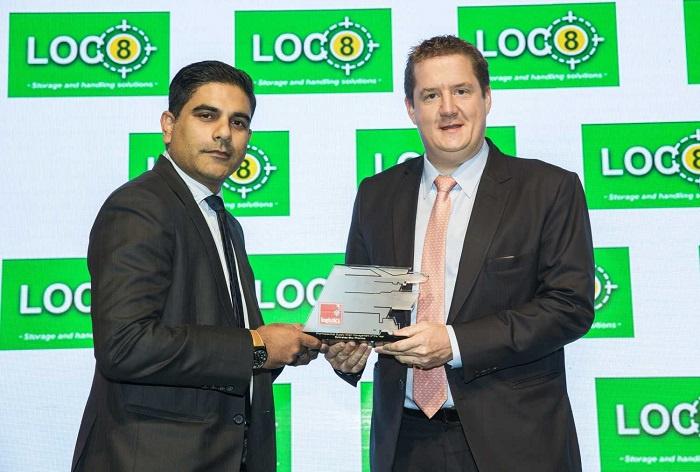 Julian Sutch, manager global sales pharma, Emirates SkyCargo collects award.