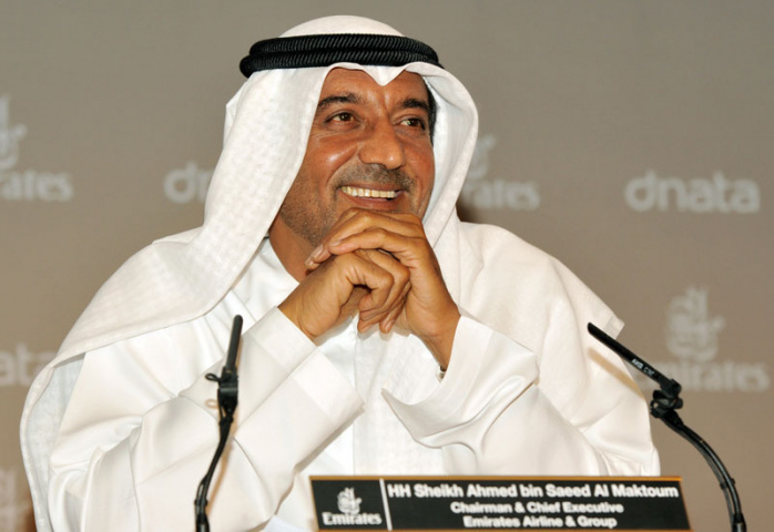 Emirates chairman Sheikh Ahmed presented the results in Dubai