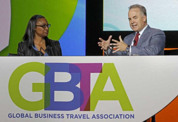 Etihad Airways President and CEO James Hogan speaks at the 2015 Global Business Travel Association (GBTA) Convention.