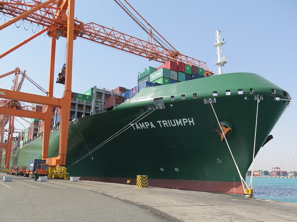 Evergreen's first ultra-large container vessel (ULCV), the Tampa Triumph, was deployed for the new Ocean Alliance MED1 eastbound service, and is scheduled to call to Jeddah Port on a weekly basis.