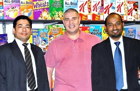 Youl George from Hassani Group (centre) with Exactus regional director Raheel Khan (left) regional sales manager Mohideen Shaikh (right)