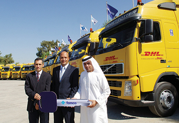 Team effort: representatives from DHL, FAMCO and Allied Transport during the handover ceremony in Dubai.
