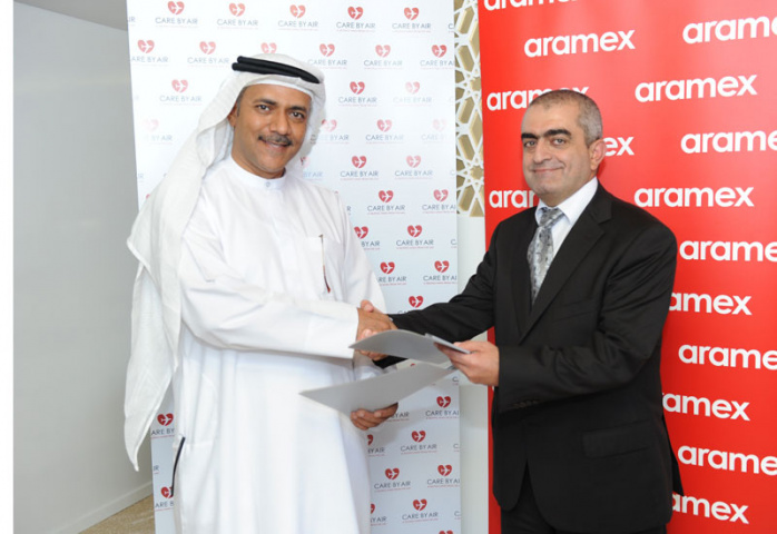 Fathi Hilal Buhazza, CEO of Maximus Air (left) together with Raji Hattar, Aramex' chief sustainability officer