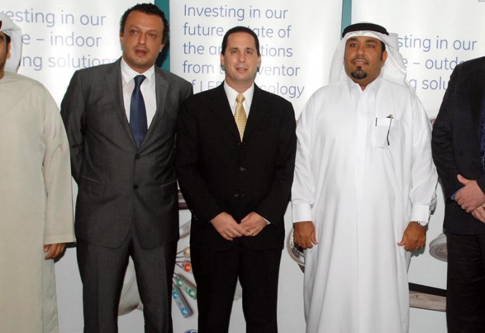 L to R Khaled Al Boom (DED) with GE's Tamer Al Shaer and John Lancia, and Dubai FDI's Hamad Saleh Alabdooli and David Harris