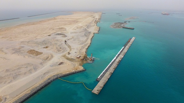 Jebel Ali's new Container Terminal 4 is being built on a reclaimed island in Jebel Ali Port.