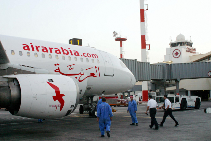 An Air Arabia passenger jet at Kuwait International Airport. Courtesy of AFP/Getty.