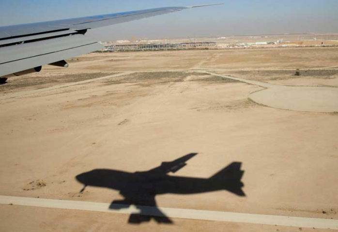 A plane comes in to land at King Khalid International Airport in Riyadh, Saudi Arabia (SAUL LOEB/AFP/Getty Images).