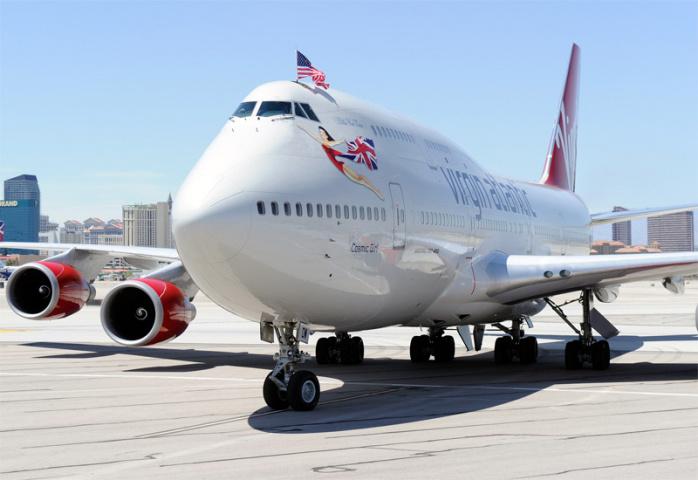 A Virgin Atlantic Airways 747-400 taxis in Las Vegas (Ethan Miller/Getty Images).