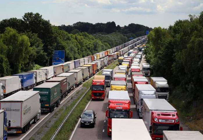 Lorries parked as part of Operation Stack.