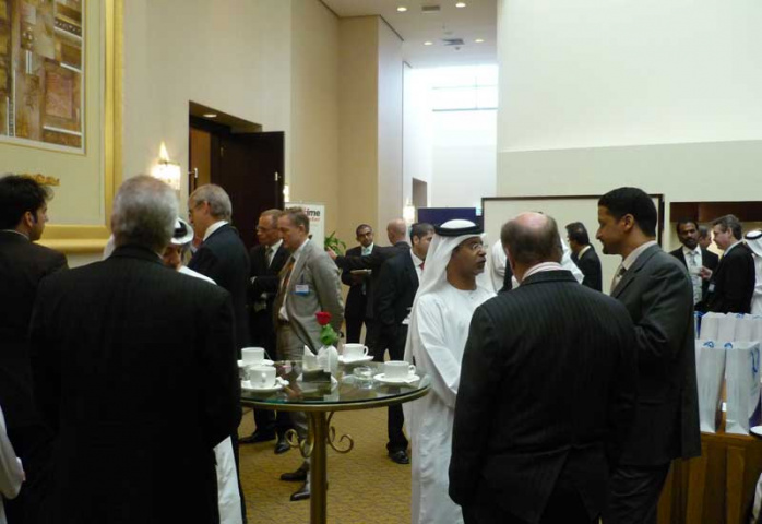 Delegates network during the Maritime Outlook Middle East conference in Abu Dhabi today.