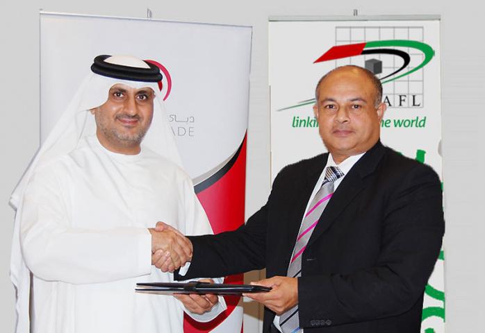 Agreement signatories Mahmood Al Bastaki, director, Dubai Trade and Ashok Thomas, secretary-general of the NAFL.