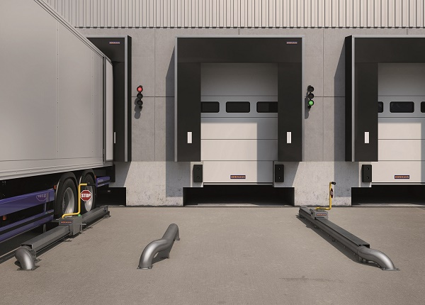 The wheel-blocking system MWB, effectively prevents the lorry from leaving the safe docking position, thus increasing safety at the loading bay.