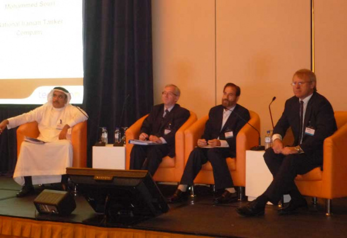 A panel discussion taking place during Maritime Outlook Middle East, with NITC chairman Mohammed Souri sitting second from right.